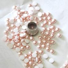 Preciosa Flat Back Rose Pink Pearl Cabochons in 4 sizes